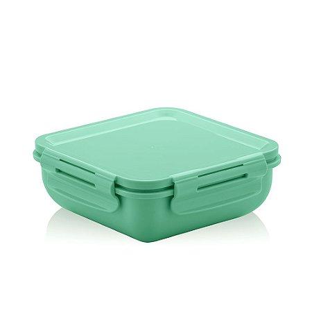 Marmita Hermética de Plástico com Divisória Verde Quadrada