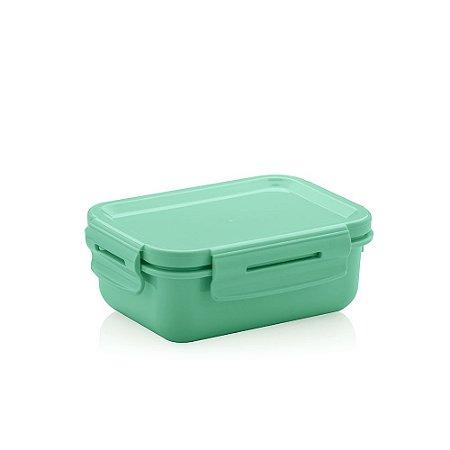Mini Marmita Hermética de Plástico Verde Retangular