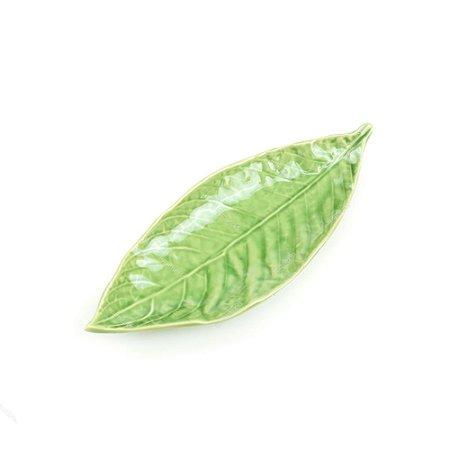 Prato Decorativo de Cerâmica Folha de Salgueiro Verde