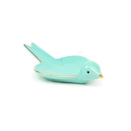 Prato Decorativo de Cerâmica Pássaro Voando Azul