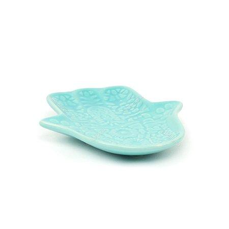 Prato Decorativo de Cerâmica Hamsa Azul