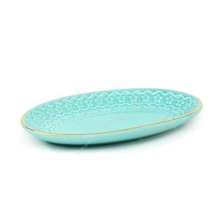 Prato Decorativo de Cerâmica Oval Flores Azul