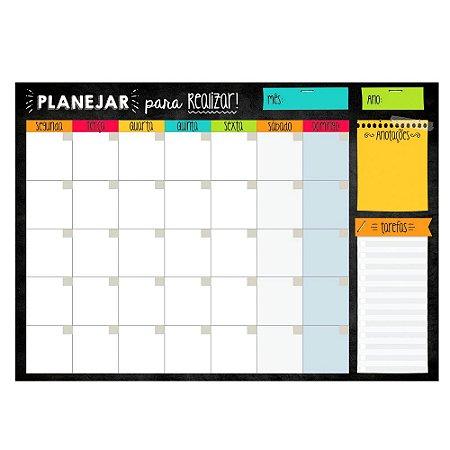 Planner de Mesa Mensal Planejar para Realizar Preto