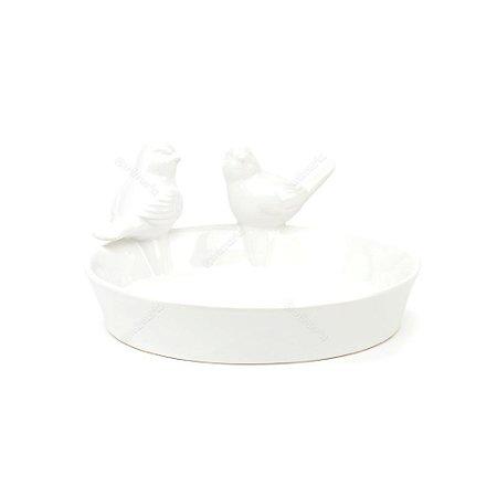 Prato de Cerâmica Passarinhos Branco