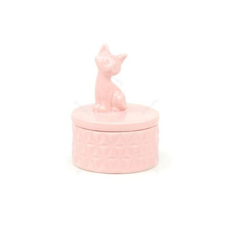 Pote de Cerâmica Gato Rosa Pequeno