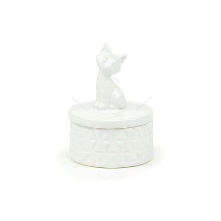 Pote de Cerâmica Gato Branco Pequeno