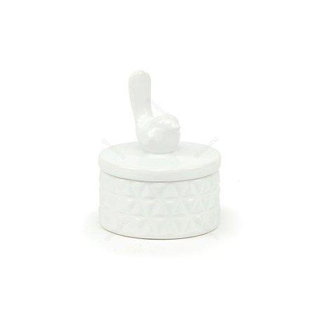 Pote de Cerâmica Passarinho Branco Pequeno