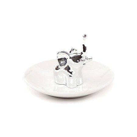 Porta-Joias em Cerâmica Elefante Prata