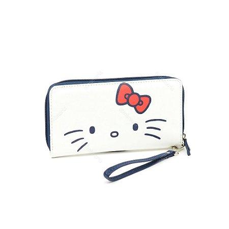 Carteira Hello Kitty Branca com Laço Vermelho