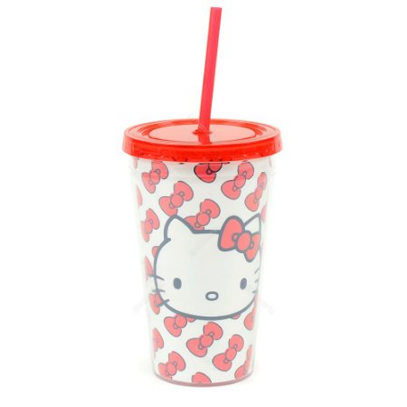 Copo Plástico com Canudo Hello Kitty Laços Vermelhos
