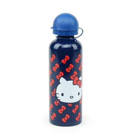 Squeeze de Alumínio Hello Kitty Azul Laços Vermelhos