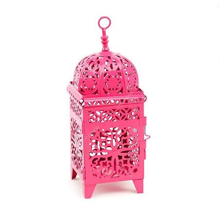 Lanterna Marroquina Quadrada Rosa