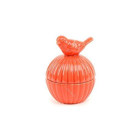 Mini Pote em Cerâmica Pássaro Vermelho