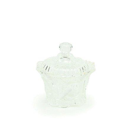 Pote de Vidro Ondulado Bomboniere Transparente Pequeno