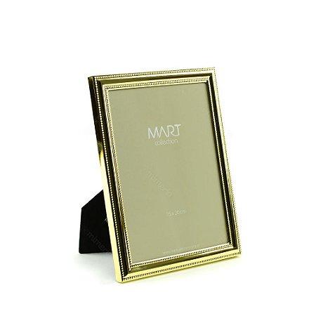 Porta Retrato Metalizado Points Dourado 15x20