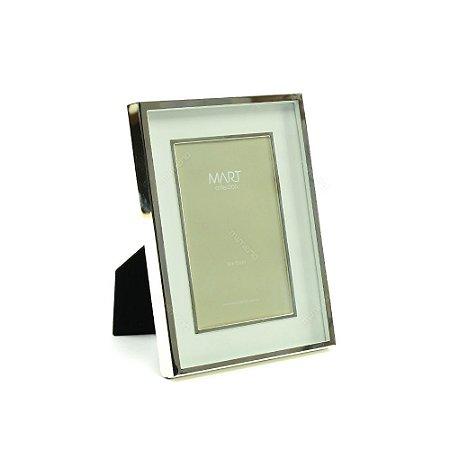Porta Retrato Metalizado Duplo Liso Prata 10x15