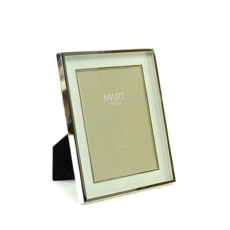 Porta Retrato Metalizado Duplo Liso Prata 15x20