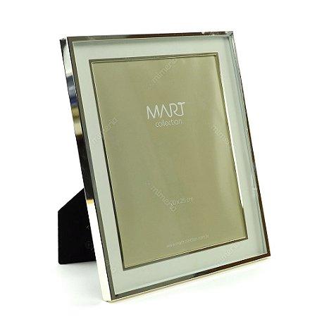 Porta Retrato Metalizado Duplo Liso Prata 20x25