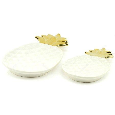 Kit Prato de Cerâmica Abacaxi Branco e Dourado