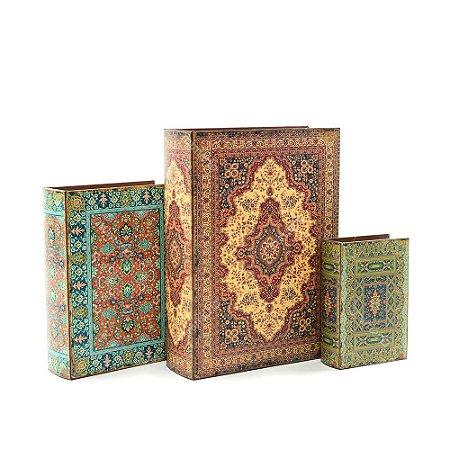 Conjunto 3 Livros Caixa Decorativos Floral Indiano