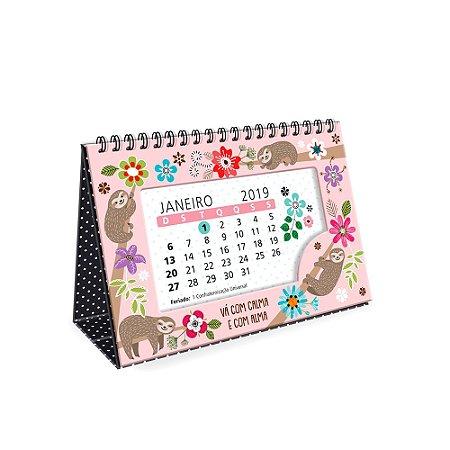 Calendário de Mesa Decorado Bicho-Preguiça 2019