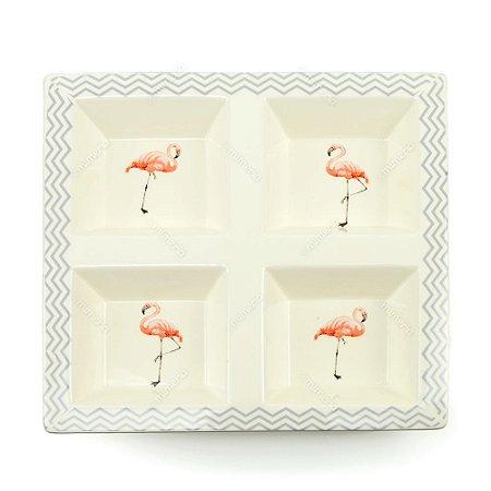 Petisqueira em Cerâmica Flamingo Quadrada 4 Compartimentos