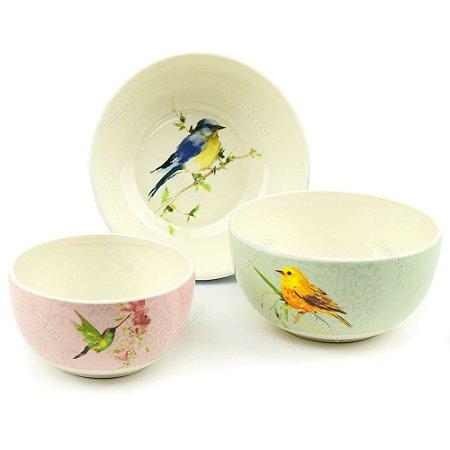 Kit Bowls em Cerâmica Pássaros