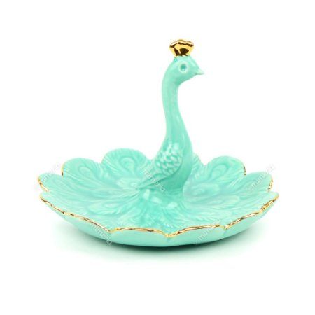Porta-Joia em Cerâmica Pavão Turquesa