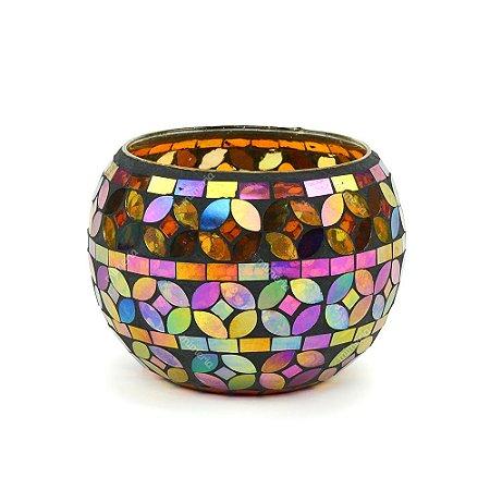 Castiçal Decorativo em Vidro Mosaico Colorido Grande