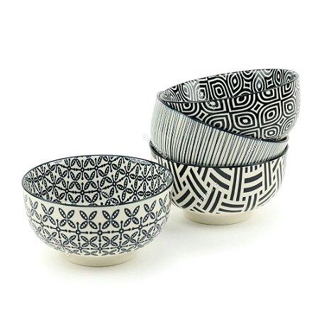 Conjunto Bowls de Porcelana Decorativo Preto e Branco Médio