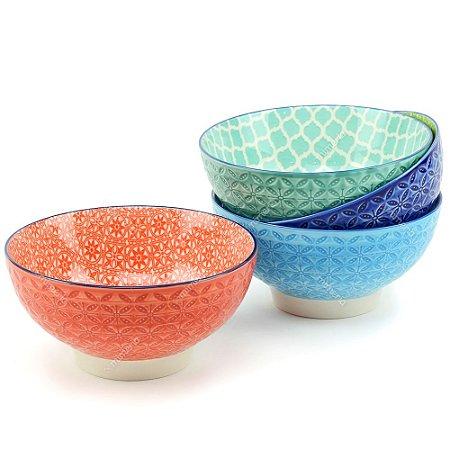Conjunto Bowls de Porcelana Estampado Colorido Grande