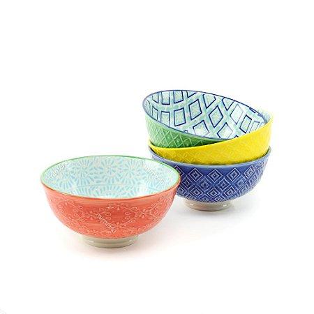 Conjunto Bowls de Porcelana Decorativo Colorido Pequeno
