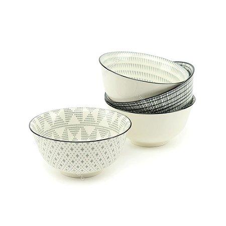 Conjunto Bowls de Cerâmica Preto e Branco Pequeno
