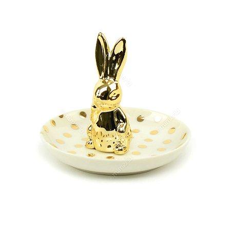 Porta-Joia em Cerâmica Coelho Branco e Dourado