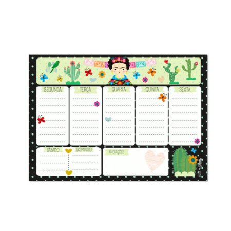 Bloco Planner de Mesa Semanal Frida Color