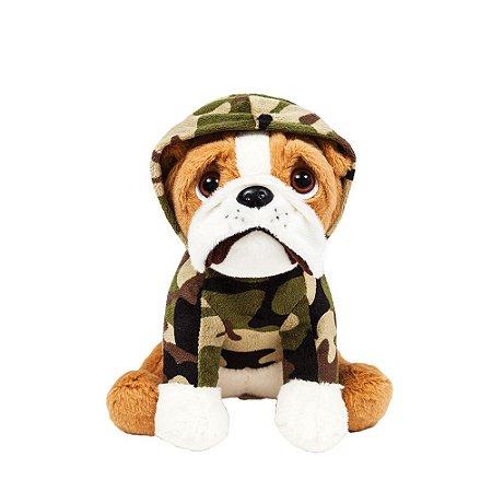 Cachorro Bulldog de Pelúcia Militar