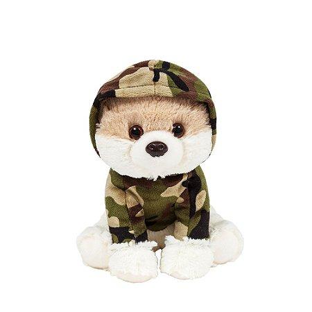 Cachorro Lulu da Pomerânia de Pelúcia Militar