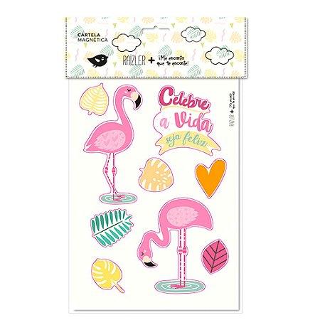 Cartela Magnética Flamingos Celebre a Vida