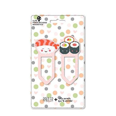 Clipes Porta Recados Magnéticos Sushi