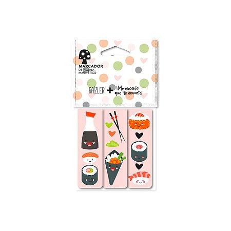 Trio Marcador de Páginas Magnético Sushi