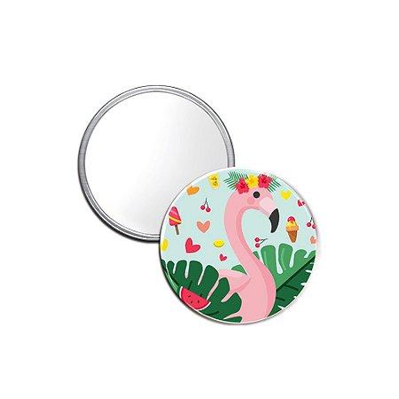 Espelho Pocket Sweet Flamingos Coroa de Flor