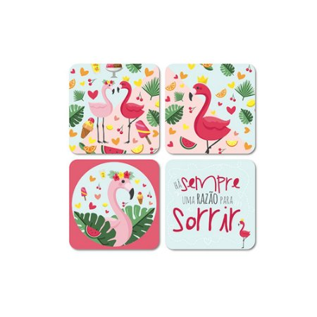 Porta Copos Magnéticos Sweet Flamingos