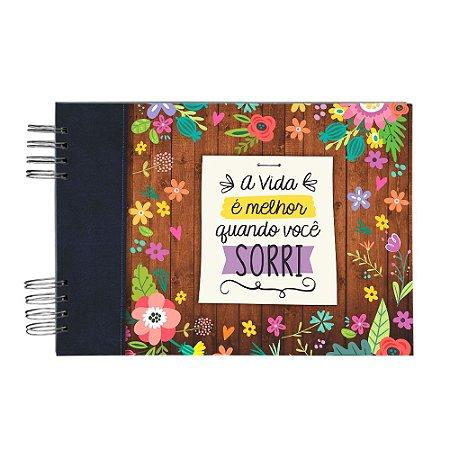 Álbum de Recordações Quando Você Sorri Floral Marrom e Preto Grande