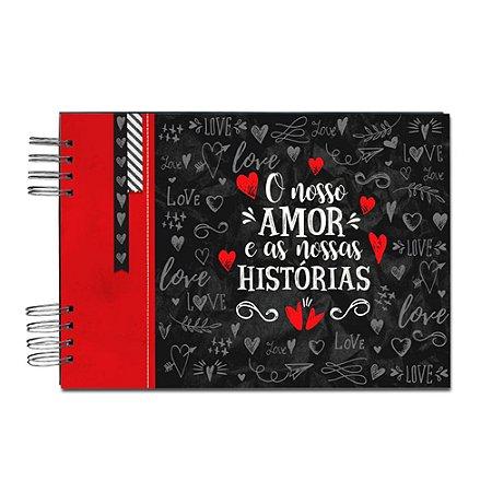 Álbum de Recordações Nosso Amor Preto e Vermelho Grande