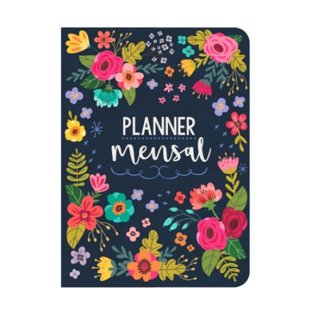 Planner Mensal Floral Azul Marinho