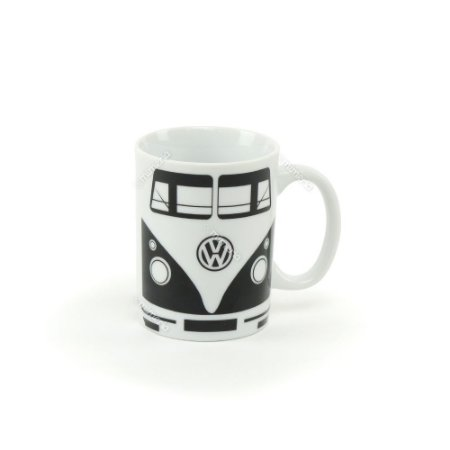 Mini Caneca Porcelana Vintage Volkswagen Kombi Branca e Preta
