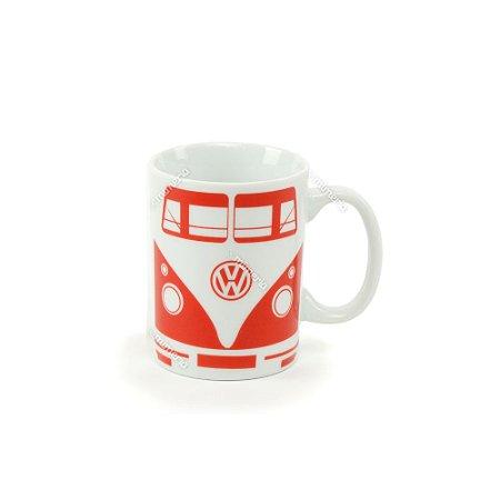 Mini Caneca Porcelana Vintage Volkswagen Kombi Vermelha e Branca