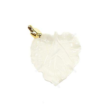 Prato Decorativo em Cerâmica Folha de Outono e Pássaro Branco Dourado Branco