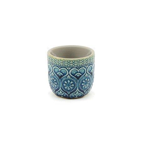 Cachepô em Cerâmica Corações e Flores em Relevo Azul