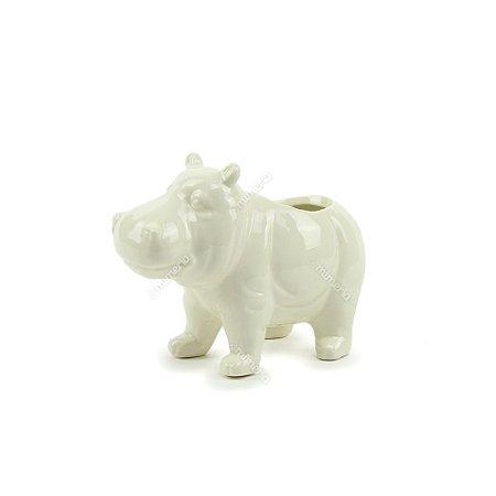 Cachepô Decorativo em Cerâmica Hipopótamo Branco